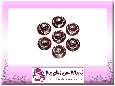 Fashion Max Full Moon with red flower black stone and Crystal Forehead Maroon Bindis