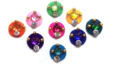Fashion Max Full Moon with Floral Crystal Forehead Multicolor Bindis