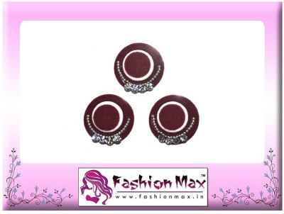 Fashion Max High Society Full Moon Triple Layer with Crystals Forehead Maroon Bindis