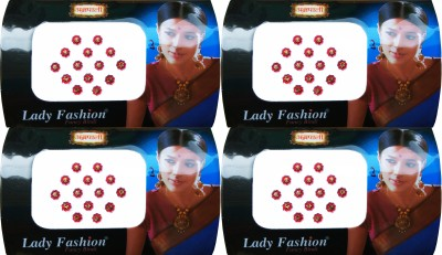 Lady Fashion Gold stone & Red Flower Border bi 241120160107 Forehead Red Bindis(Stick On)