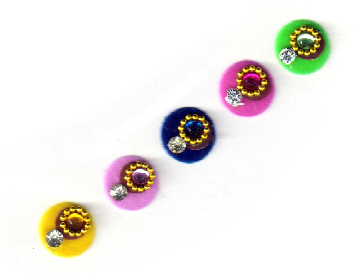 Fashion Max Full Moon with Crystal Forehead Multicolor Bindis