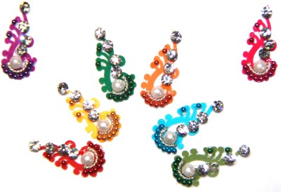 Fusionjewels Multi Colour Pearl With Zircon Bindi Forehead Multicolor Bindis