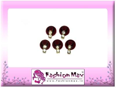 Fashion Max Maroon Full Moon with 2 stone crystal droping Forehead Maroon Bindis