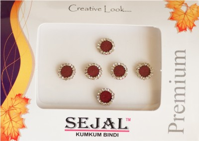 Sejal Bindi Diamond Collection Stone Border Forehead Maroon Bindis