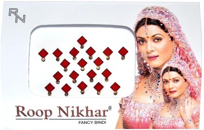 Roop Nikhar Fancy Cubic Crystal Vivah Collection Forehead Red Bindis(Fancy Design)