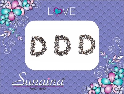 Sunaina Love Alphabet Collection Forehead Silver Bindis