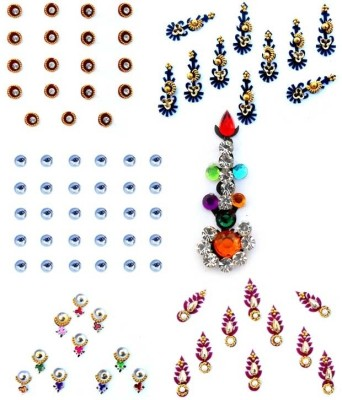 Smartkshop Desginer zircons and pearls studded pack of bindis - 6 Pcs Forehead Multicolor Bindis