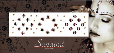 Sunaina Beautiful Round Stone Forehead Maroon Bindis