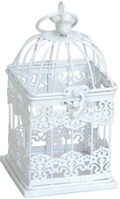 Deziworkz White Mughal Jaal Birdcage Hanging-Home - Garden Decor-Indoor/Outdoor Decor Bird House(Hanging, Wall Mounting)