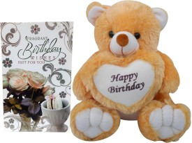 Saugat Traders Happy Birthday Soft Teddy With Birthday Greeting Card(Set of 2)