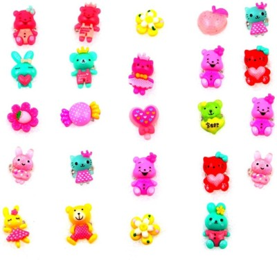 Sanjog Return Gift Cute Cartoon Character Assorted Finger Rings For Girls/Kids For Birthday/Party