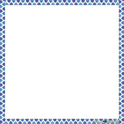WallDesign Blue Waves Border Writing Film Magnetic Memo White board