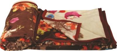 Dexim Floral Double Blanket Brown