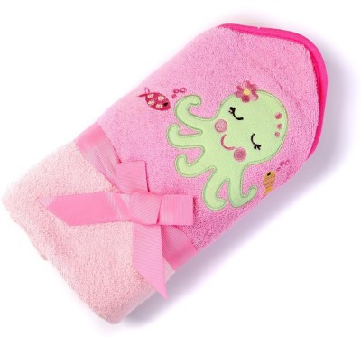 Baby Oodles Embroidered Crib Hooded Baby Blanket Pink