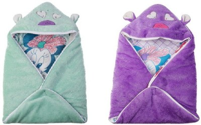 Utc Garments Cartoon Single Hooded Baby Blanket Purple, Green, Red, Pink, White