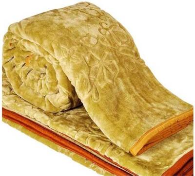 AmazingHind Self Design Double Blanket Golden