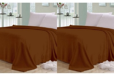 Shopgalore Plain Double Blanket Brown