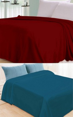 Shopgalore Plain Double Blanket Multicolor