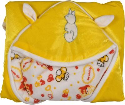 New Born Baby Cartoon Crib Hooded Baby Blanket Yellow