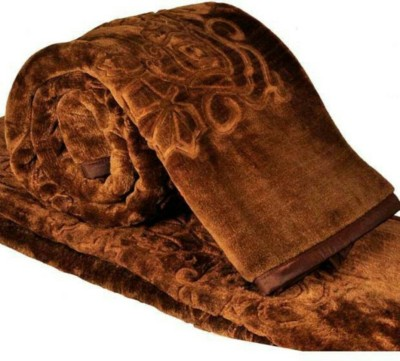 Divine Embroidered Double Blanket Brown