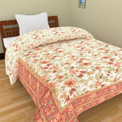 Shra Floral Single Quilts & Comforters Peach, Green, White