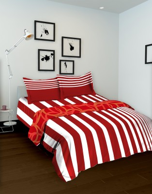 Tomatillo Striped Double Quilts & Comforters Maroon, White