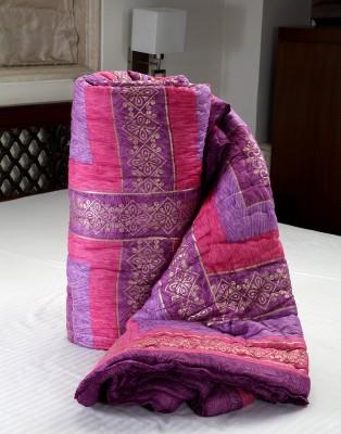 Jodhaa Checkered Double Quilts & Comforters Pink, Purple