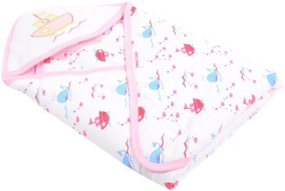 Kinder and Tender Printed Single Hooded Baby Blanket Pink and White
