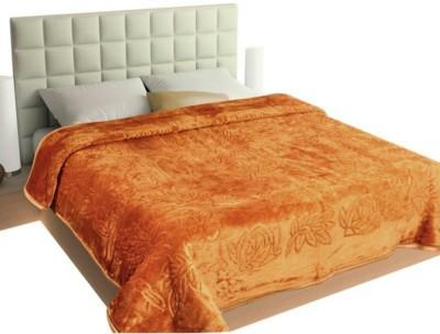 Ndecor Plain Double Blanket Golden