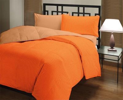 Featherlite Checkered Double Quilts & Comforters Orange Checks, Orange Plain