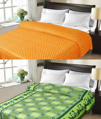 Candy House Checkered Double Blanket Green
