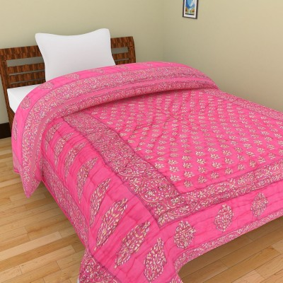 Rajkruti Floral Single Quilts & Comforters Pink, Gold