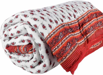 DFR Floral Single Quilts & Comforters Red