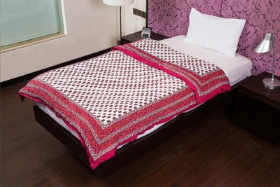 JaipurFabric Floral Single Quilts & Comforters Pink