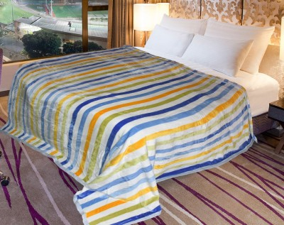 Coverlet Striped Double Blanket White and Yellow