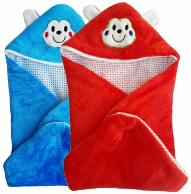 Brandonn Abstract Single Hooded Baby Blanket Blue, Red