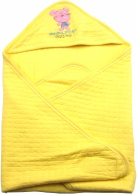 Ahad Plain Single Hooded Baby Blanket Yellow
