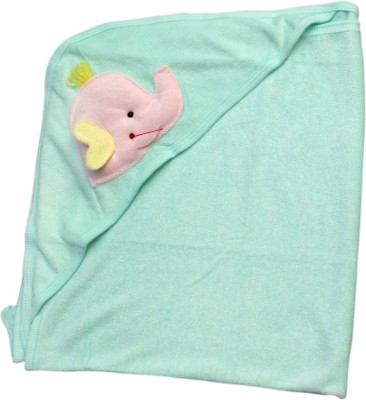 Offspring Embroidered, Plain Single Hooded Baby Blanket Green