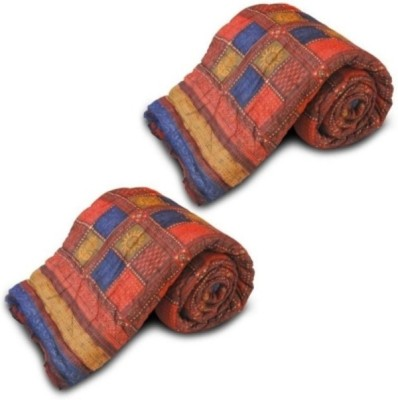 Ruchiworld Checkered King Quilts & Comforters Multicolor