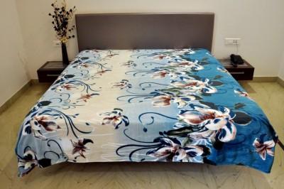 Welhouse India Floral Double Blanket Blue