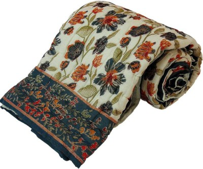 Shreemangalammart Floral Single Quilts & Comforters Beige And Green