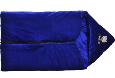 Silver Stone Plain Single Hooded Baby Blanket Blue