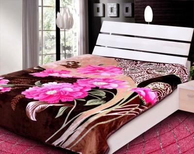 Rangoli Floral Double Blanket Brown