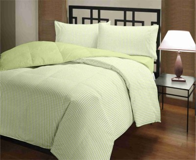 Featherlite Checkered Single Quilts & Comforters Green Checks, Green Plain
