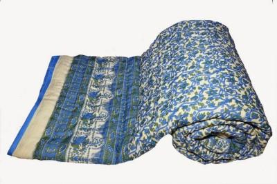 Buy Clues Floral Double Quilts & Comforters Blue