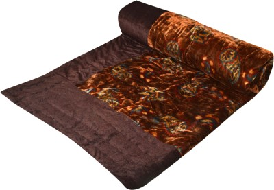 Raj Amer Craft Floral Single Quilts & Comforters Brown