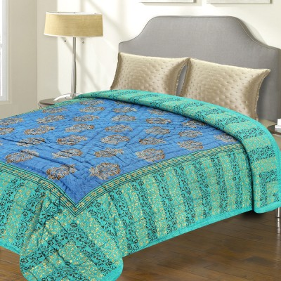 Aapno Rajasthan Floral Double Quilts & Comforters Green, Blue