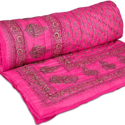 Shyamalam Floral Single Quilts & Comforters Pink