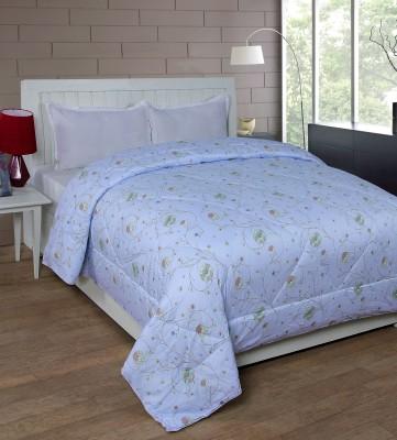 Shivalik Floral Double Quilts & Comforters Light Blue