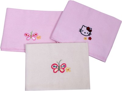 Blooming Buds Embroidered Single Hooded Baby Blanket Pink
